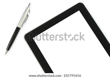 Touch screen device and pen on white background - stock photo