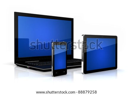 Touch-screen family - digital tablet, phone and laptop - stock photo