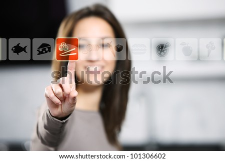 touch screen food and drink - stock photo