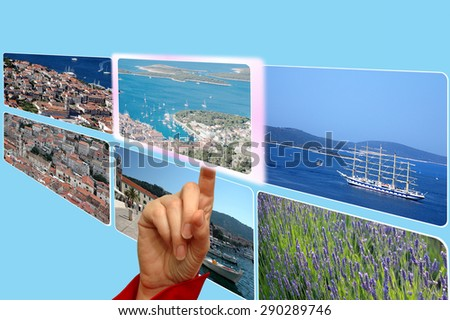Touch screen interface and hand browsing images for e-commerce vacation choice
