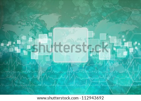 Touch screen interface on background medical - stock photo