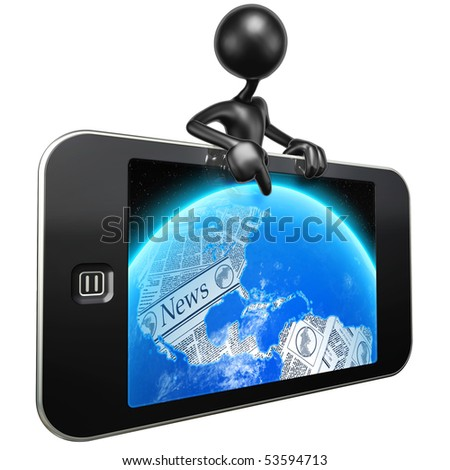Touch Screen Mobile Device World News - stock photo