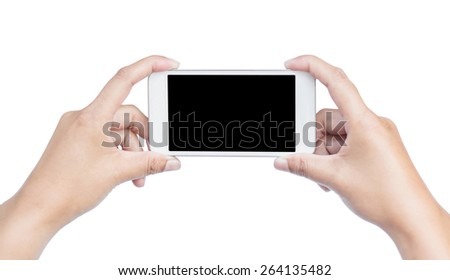 Touch screen mobile phone, in hand with Clipping Path. - stock photo