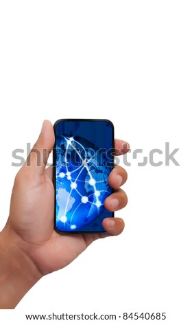 Touch screen mobile phone with streaming images - stock photo