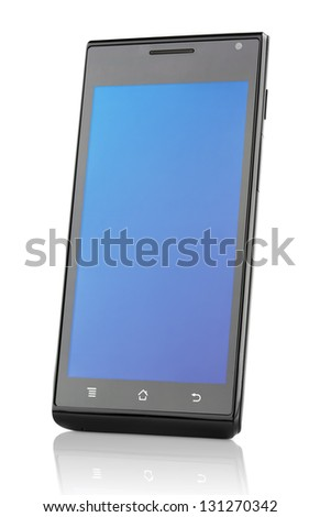 Touch screen mobile smart phone isolated on white with clipping path - stock photo