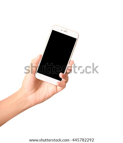 Touch screen smartphone in a hand - stock photo