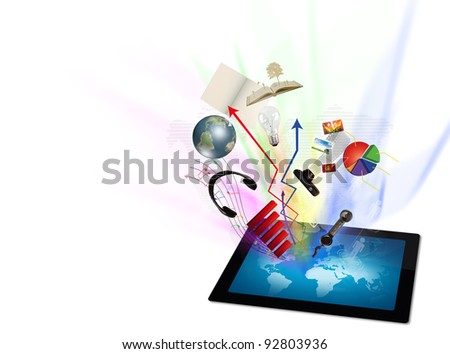 Touch screen tablet computer - stock photo