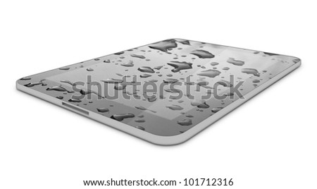 Touch Screen Tablet Computer PC with Water Drops on it. Background - stock photo