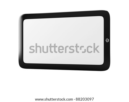 Touch screen tablet pc with blank screen isolated on white. Horizontal - stock photo