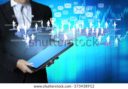 touch screen, touch-tablet in hands  - stock photo