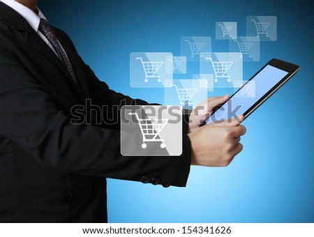touch screen ,touch- tablet in hands businessmen