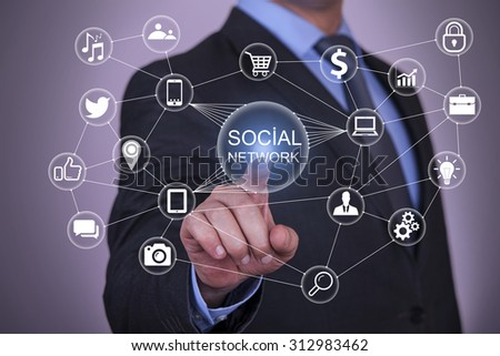 Touch Social Network and Social Network Concept - stock photo