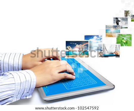 touch tablet concept images streaming from the deep isolated on white background - stock photo