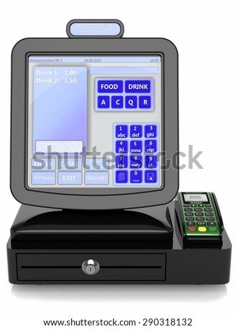 Touch terminal for the sale of food and water to the clearing settlement, isolated on a white background