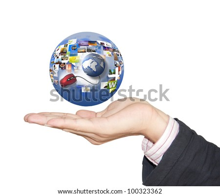 Touch the interactive Internet connection. - stock photo