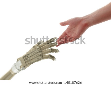 Touch to the Future Human and robot hands isolated on white background. - stock photo