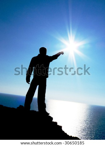 Touch to the sun. Element of design. - stock photo