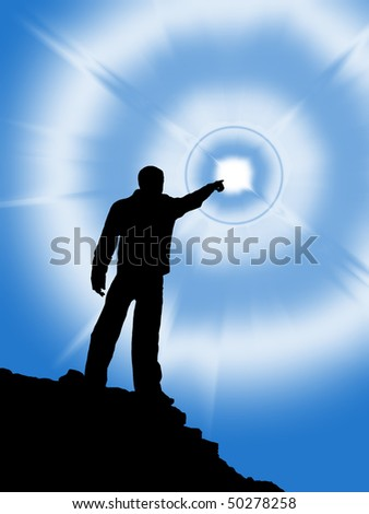 Touch to the Sun. Scene for concept design. - stock photo
