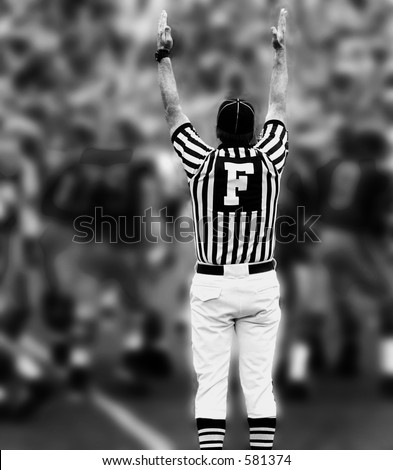 Touchdown,Referee with hands up - stock photo