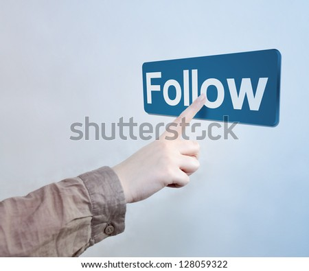 Touched Follow Button - stock photo