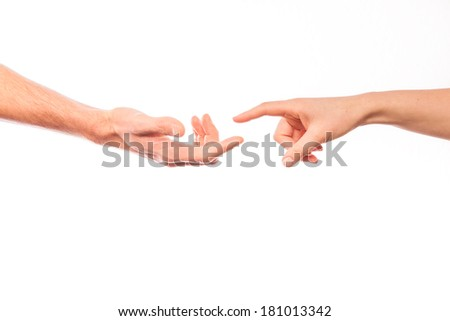 touching fingers trust hands sensual - stock photo