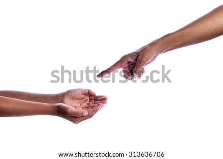 Touching Hands, touching finger on finger isolated on white Background