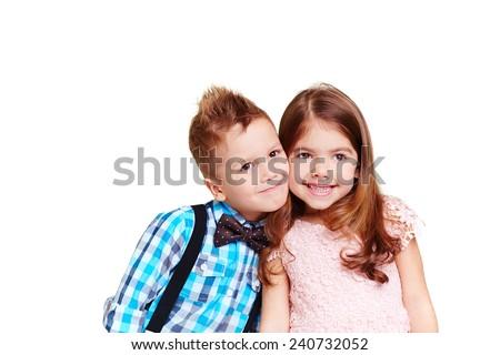 Touching portrait of little friends - stock photo