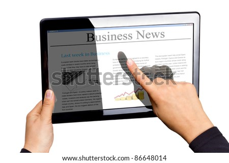 Touchpad with business news isolated on white, own creation news and photos on display