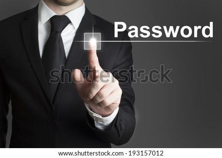 touchscreen button password - stock photo
