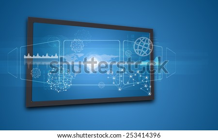 Touchscreen display with world map and other elements, on blue background