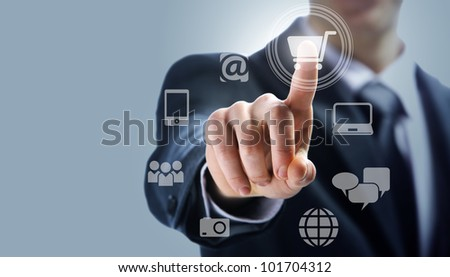 touchscreen interface:shopping over internet - stock photo