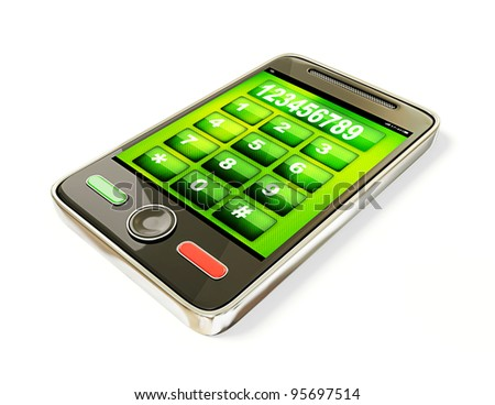 touchscreen mobile phone isolated on a white background. - stock photo