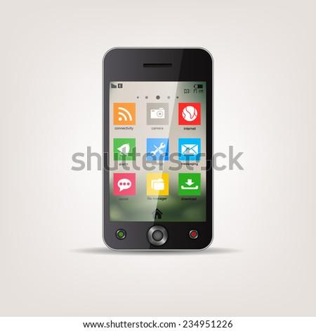 Touchscreen Mobile phone with metro style Icon menu - stock photo
