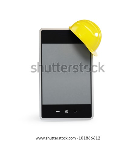 touchscreen phone in the helmet on a white background - stock photo