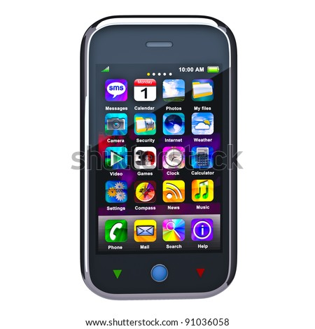 Touchscreen smart phone. Cell Smart Mobile Phone 3D. On the white background - stock photo