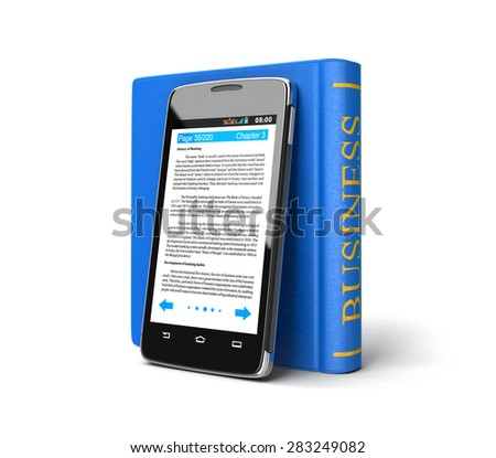 Touchscreen smartphone and Business Book (clipping path included) - stock photo