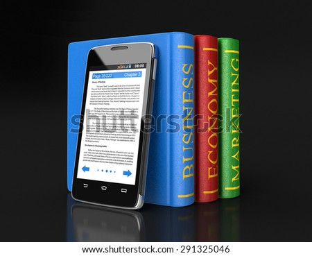 Touchscreen smartphone and Business Books (clipping path included)