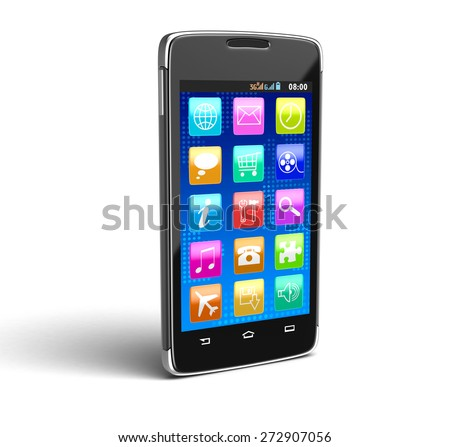 Touchscreen smartphone (clipping path included) - stock photo
