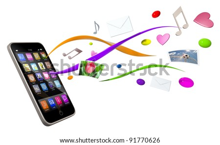 Touchscreen smartphone, conceptual 3d image - stock photo