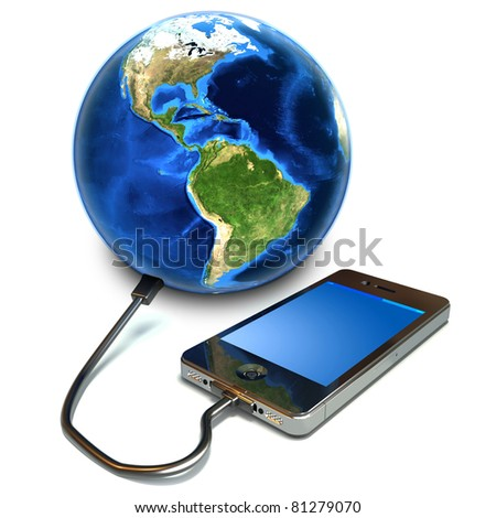 Touchscreen Smartphone connecting to the world concept. Texture from www.Nasa.org - stock photo