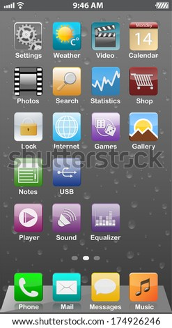 Touchscreen smartphone interface with background - stock photo