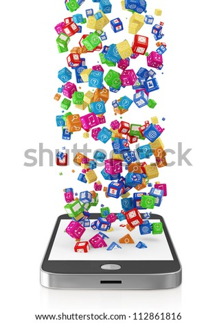 Touchscreen Smartphone with Application Icons isolated on white background - stock photo