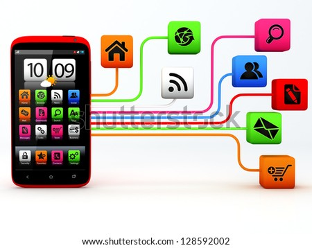 Touchscreen smartphone with cloud of application icons  Note: All Devices design and all screen interface graphics in this series are designed by the contributor him self. - stock photo