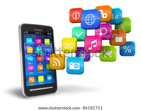 Touchscreen smartphone with cloud of colorful application icons isolated on white background