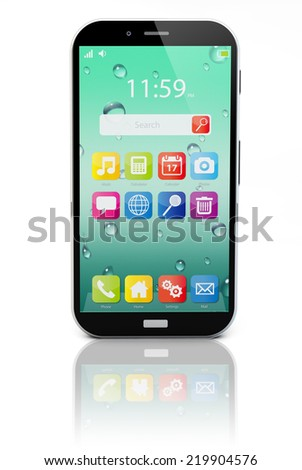 touchscreen smartphone with colorful interface with color icons and buttons isolated on white background