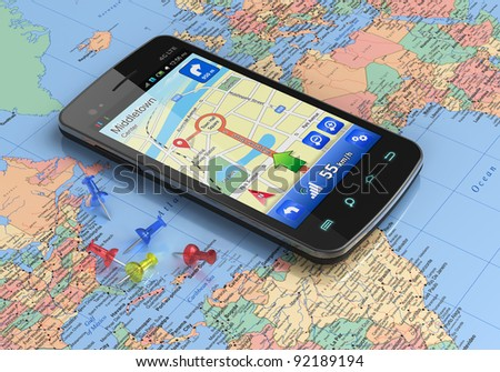 Touchscreen smartphone with GPS navigation on world map - stock photo