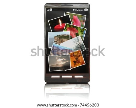 touchscreen smartphone with the gallery open - stock photo