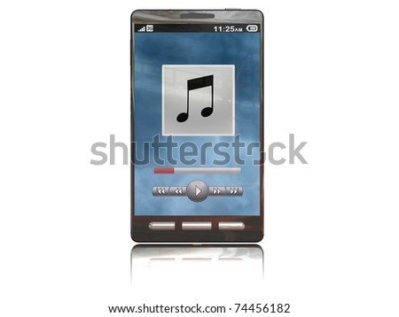 touchscreen smartphone with the music app open - stock photo