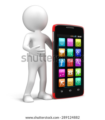 Touchscreen smartphones and man (clipping path included)