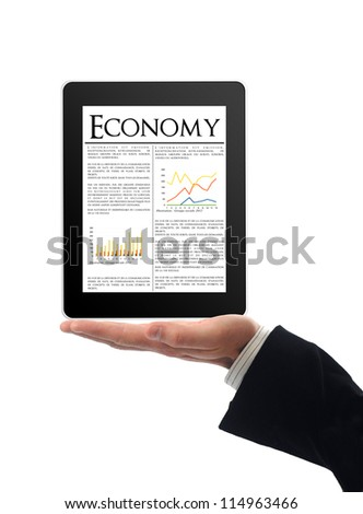 Touchscreen tablet with economy news inside
